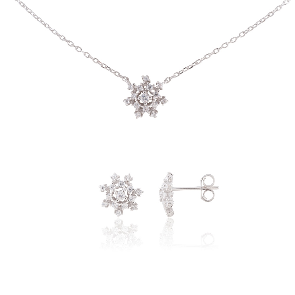 "Sterling Silver Delicate Snowflake Necklace 18"" and Earring Set #6"
