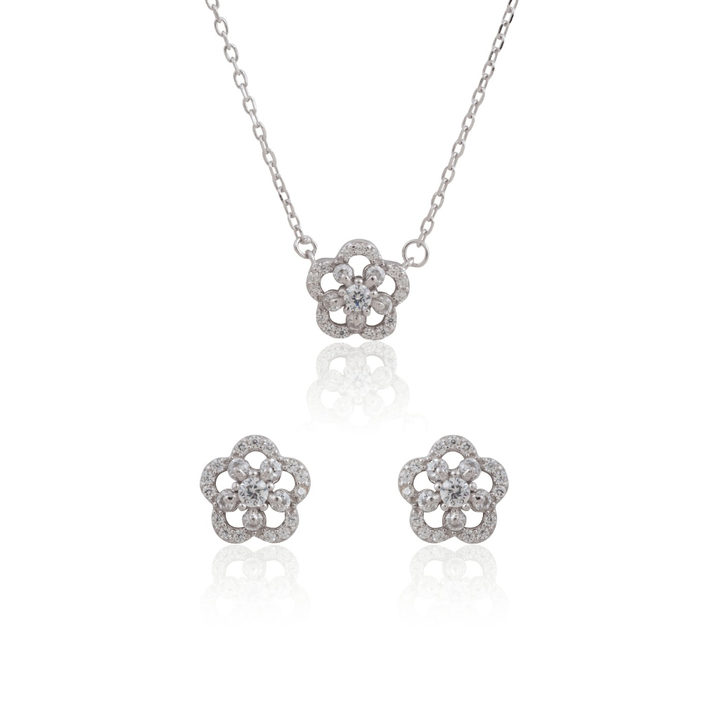 "Sterling Silver Delicate Flower Necklace 18"" and Earring Set"