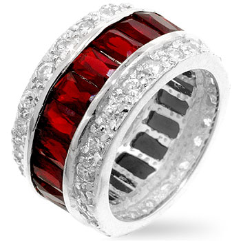 Triple Row Red Eternity Band (Size: 5)