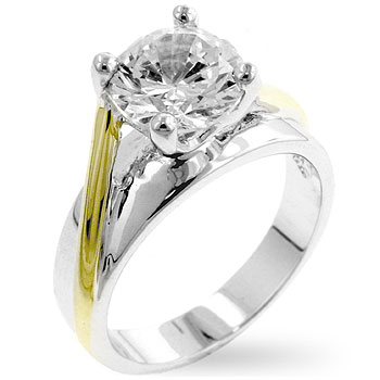 Two-tone Finish Solitaire Engagement Ring (Size: 5)