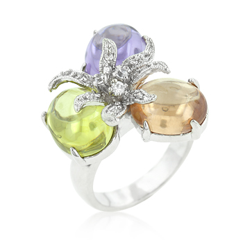 Triple Bead Floral Ring (Size: 5)