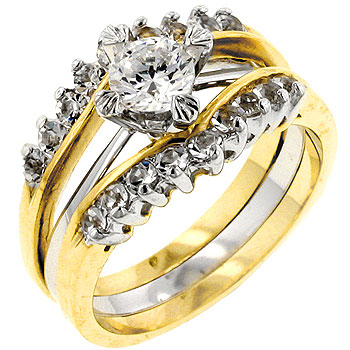 Two Tone Cubic Zirconia Anniversary Ring Set (Size: 5)