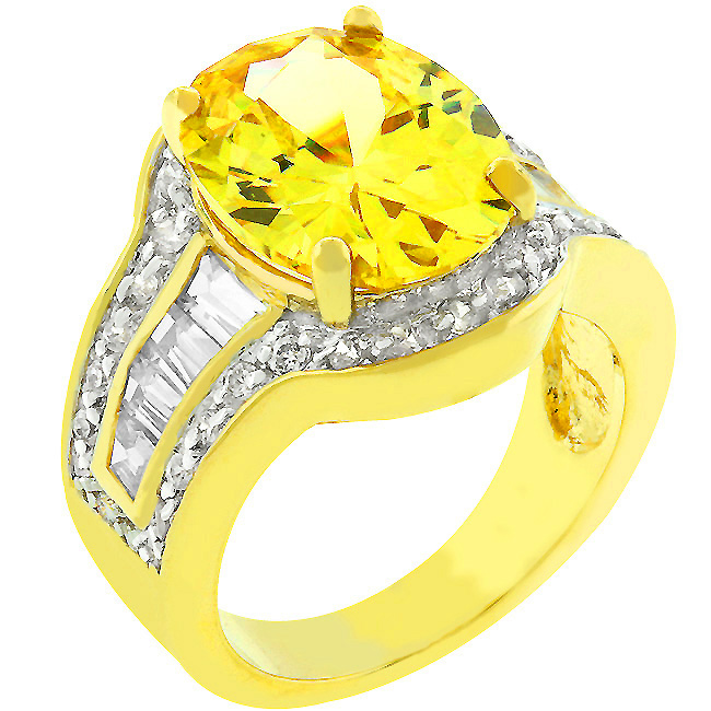 Yellow Cubic Zirconia Cocktail Ring (Size: 5)