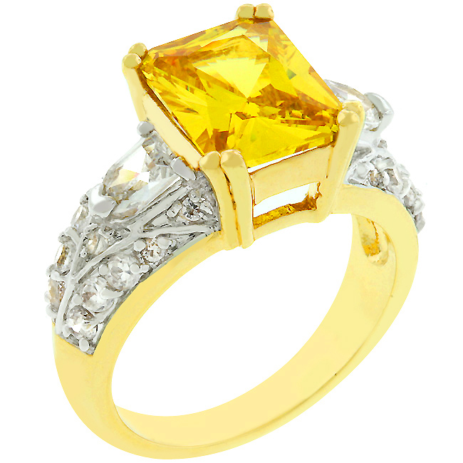 Yellow Cubic Zirconia Fashion Ring (Size: 5)