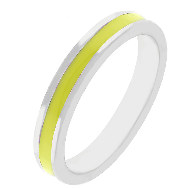 Yellow Enamel Eternity Ring (Size: 5)