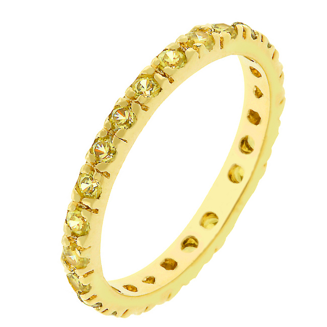 Yellow Cubic Zirconia Eternity Ring (Size: 5)