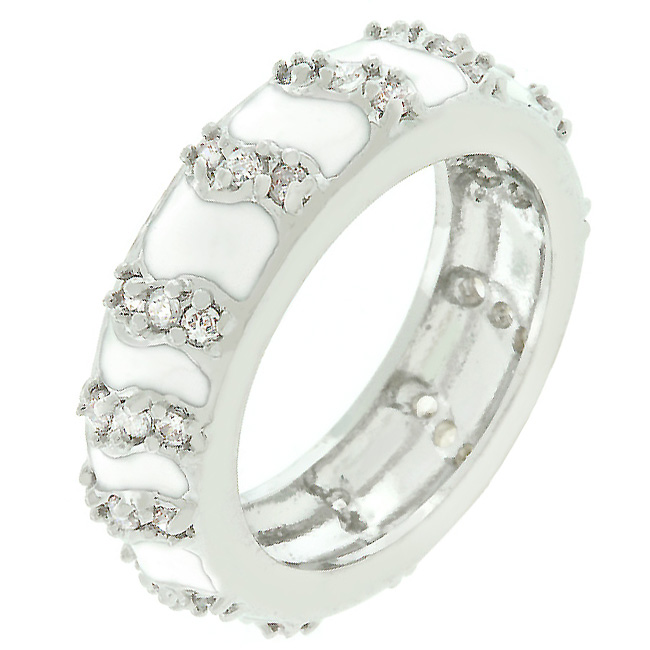 White Eternity Enamel Ring (Size: 5)