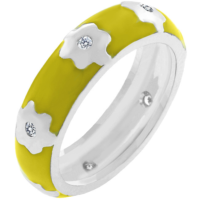 Yellow Flower Enamel Band (Size: 5)