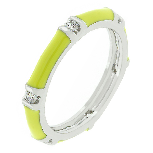Yellow Enamel Stacker Ring (Size: 5)