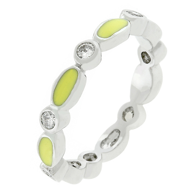 Yellow Link Enamel Stacker Ring (Size: 5)