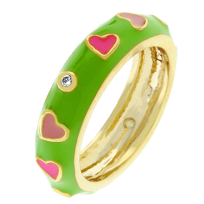 Tropical Enamel Hearts Ring (Size: 5)