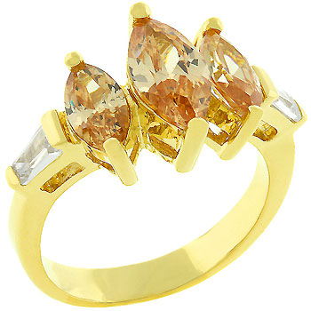 Triple Marquise Champagne Ring (Size: 5)