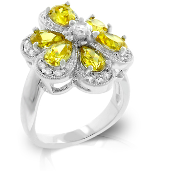 Yellow Cubic Zirconia Daisy Ring (Size: 5)