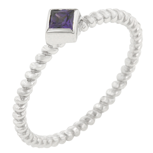 Twisted Petite Amethyst Solitaire Ring (Size: 5)
