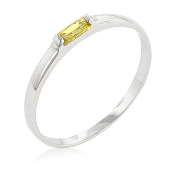 Yellow Petite Solitaire Ring (Size: 5)