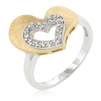 Two-tone Finished Cubic Zirconia Heart Ring (Size: 5)