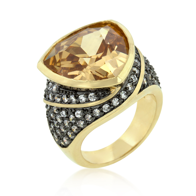 Triangle Cut Two-tone Finish Cocktail Ring (Size: 5)