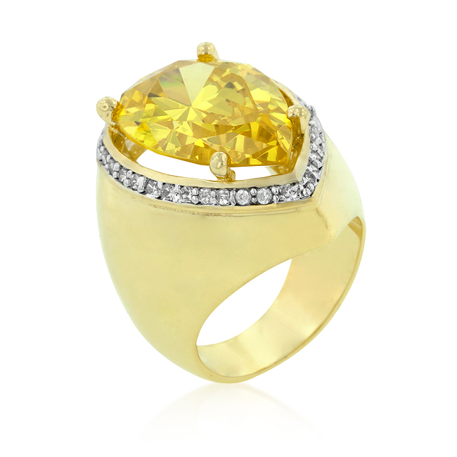 Yellow Pear Cubic Zirconia Cocktail Ring (Size: 5)