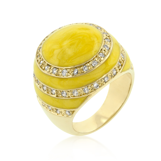 Yellow Enamel Egg Ring (Size: 5)