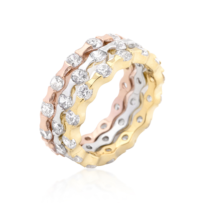 Tri-tone Stackable Rings (Size: 5)