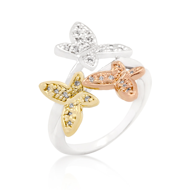 Triple Butterfly Cubic Zirconia Ring (Size: 5)