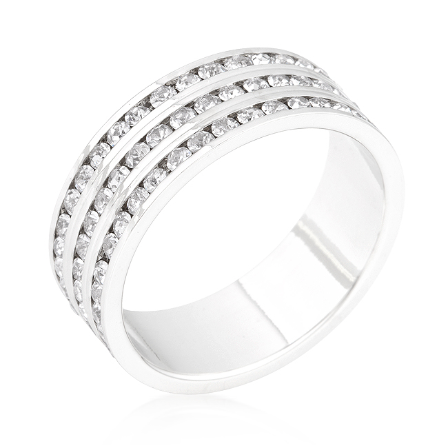 Triple Row Crystal Eternity Band (Size: 4)