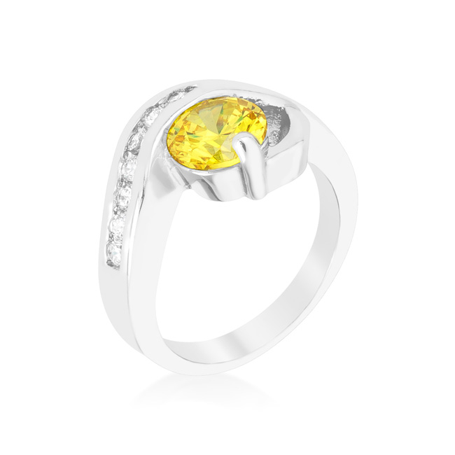 Yellow Cubic Zirconia Twist Ring (Size: 6)