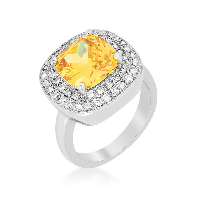 Yellow Bridal Cocktail Ring (Size: 5)