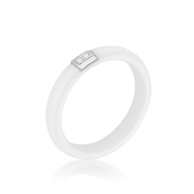 White Ceramic Band Ring With Cubic Zirconia #1 (Size: 5)