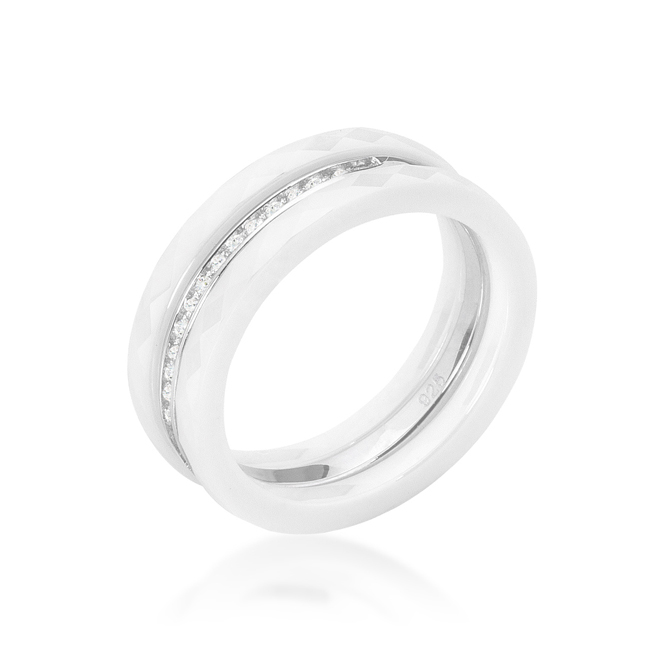 White Ceramic Triplet Ring With Cubic Zirconia (Size: 5)