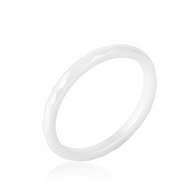 White Ceramic Band Ring (Size: 5)