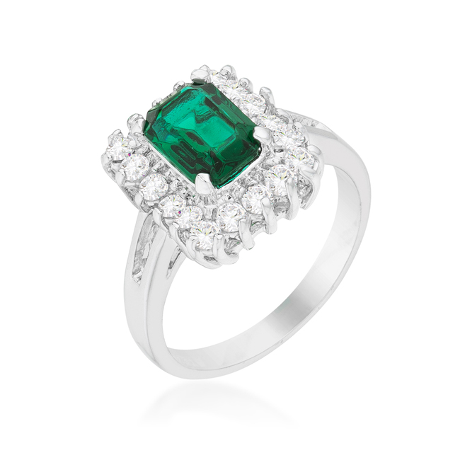 Vintage Emerald Cocktail Ring (Size: 5)