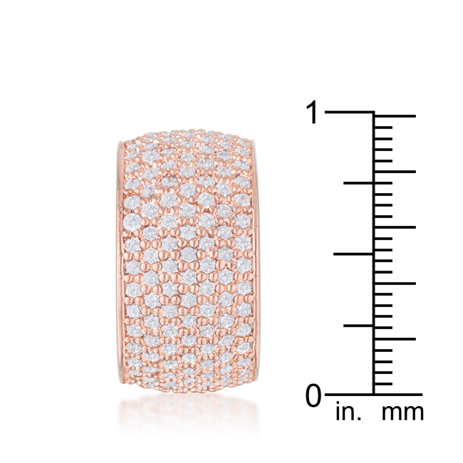 Wide Pave Cubic Zirconia Rose Gold Band Ring (Size: 5)