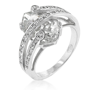 Trapped Cubic Zirconia Cocktail Ring (Size: 5)